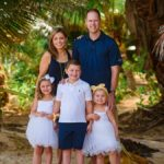 family posing in tropical forest